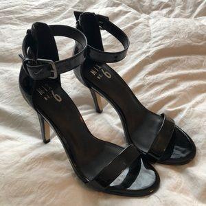 Never worn! Strappy black open toe heels